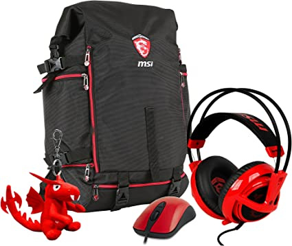 MSI GT Xmas Pack - Pack de Gaming (Mochila, Auriculares STEELSERIES Siberia V2, ratón KINZU V3, Llavero dragón) Color Negro y Rojo: Amazon.es: Informática