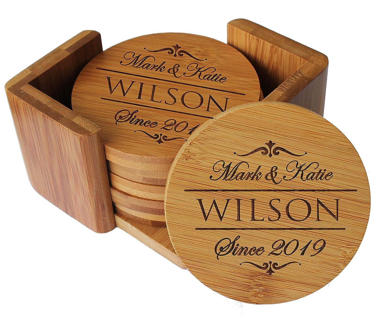 Amazon.com: Posavasos personalizables de madera de bambú ...