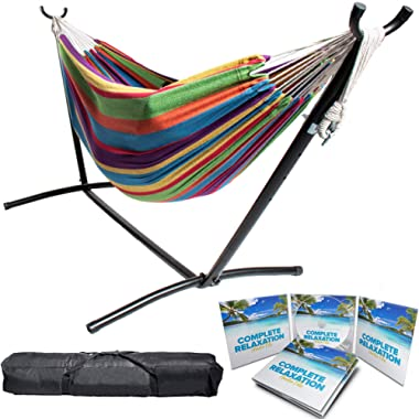 BACKYARD EXPRESSIONS PATIO · HOME · GARDEN 914922 Two Person Hammock with Stand + Relaxing Audio Track and Luxury Carrying Case, 106  L x 47  W x 43  H, Caribbean Rainbow