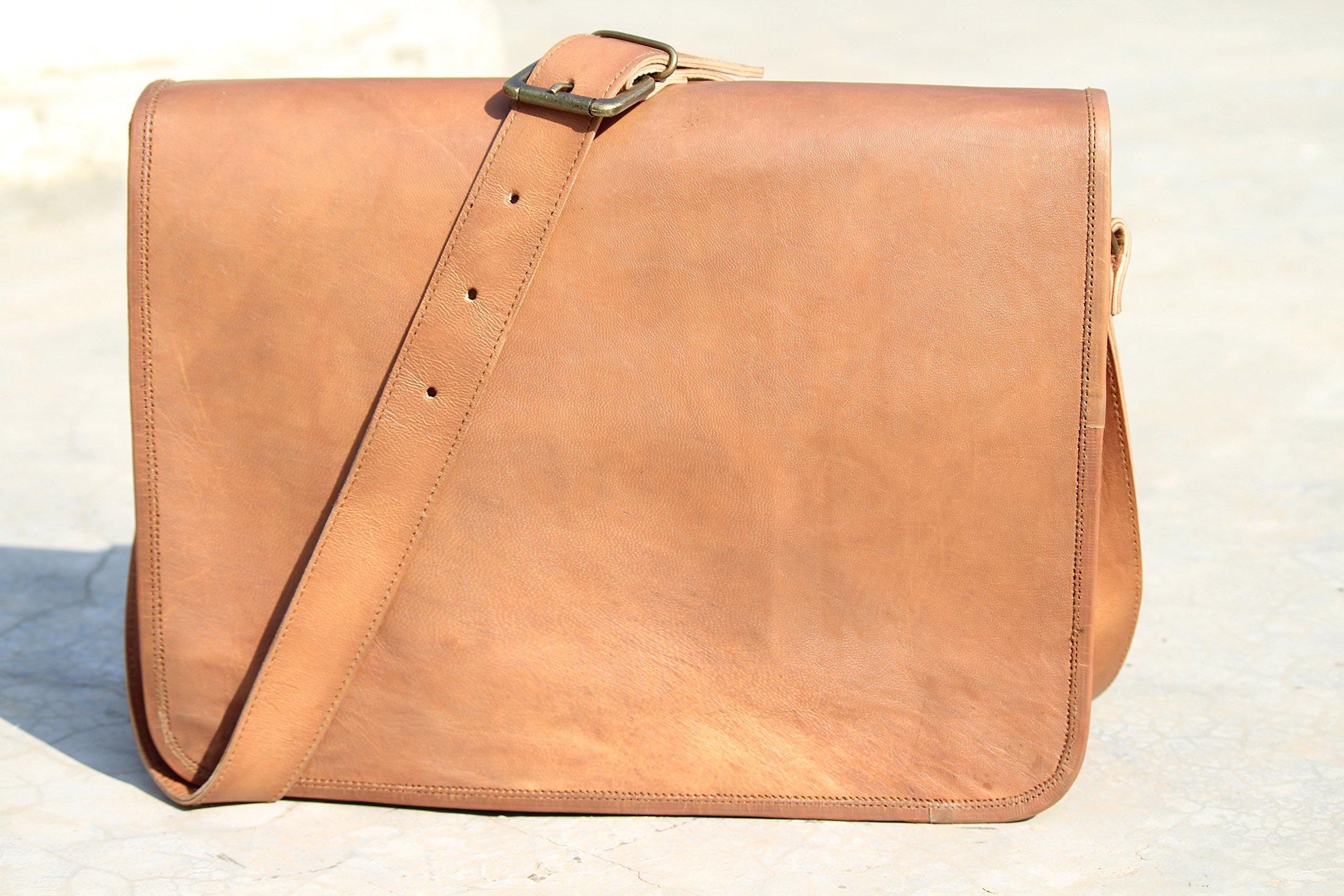 Leather Full Flap Messenger Handmade Bag School Bag15X11X4 Inches Brown
