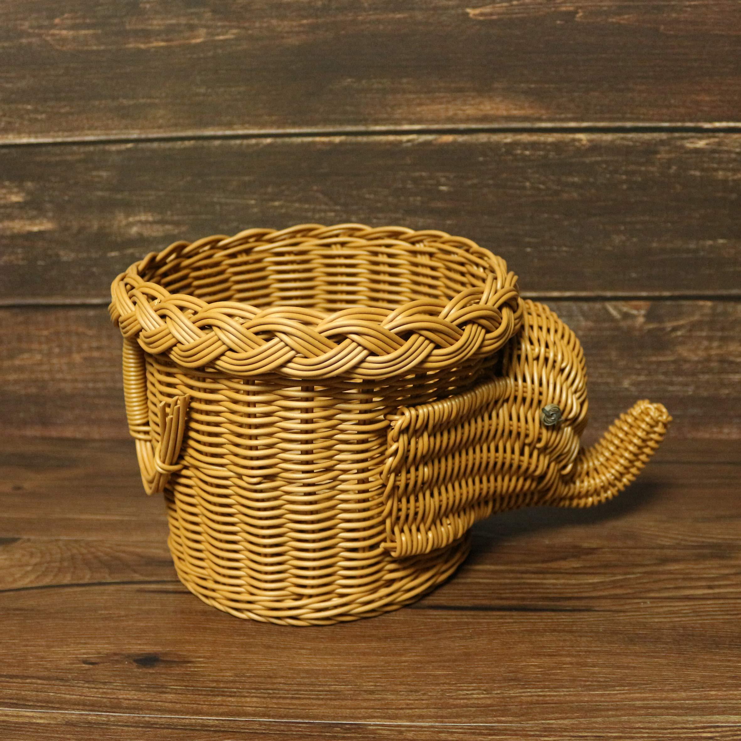 CVHOMEDECO. Elephant Design Imitation Rattan Fruit Basket Bread Basket Storage Basket Resin Wicker Artificial Plant Holder. Light Brown, 11-1/2''L by CVHOMEDECO. (Image #5)