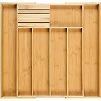 Homex Besteckkasten fur Schubladen aus 100% Bambus - ausgezogen 55 x 44,5 x 5 cm (LxBxH) /mit praktischem MESSERBLOCK gratis