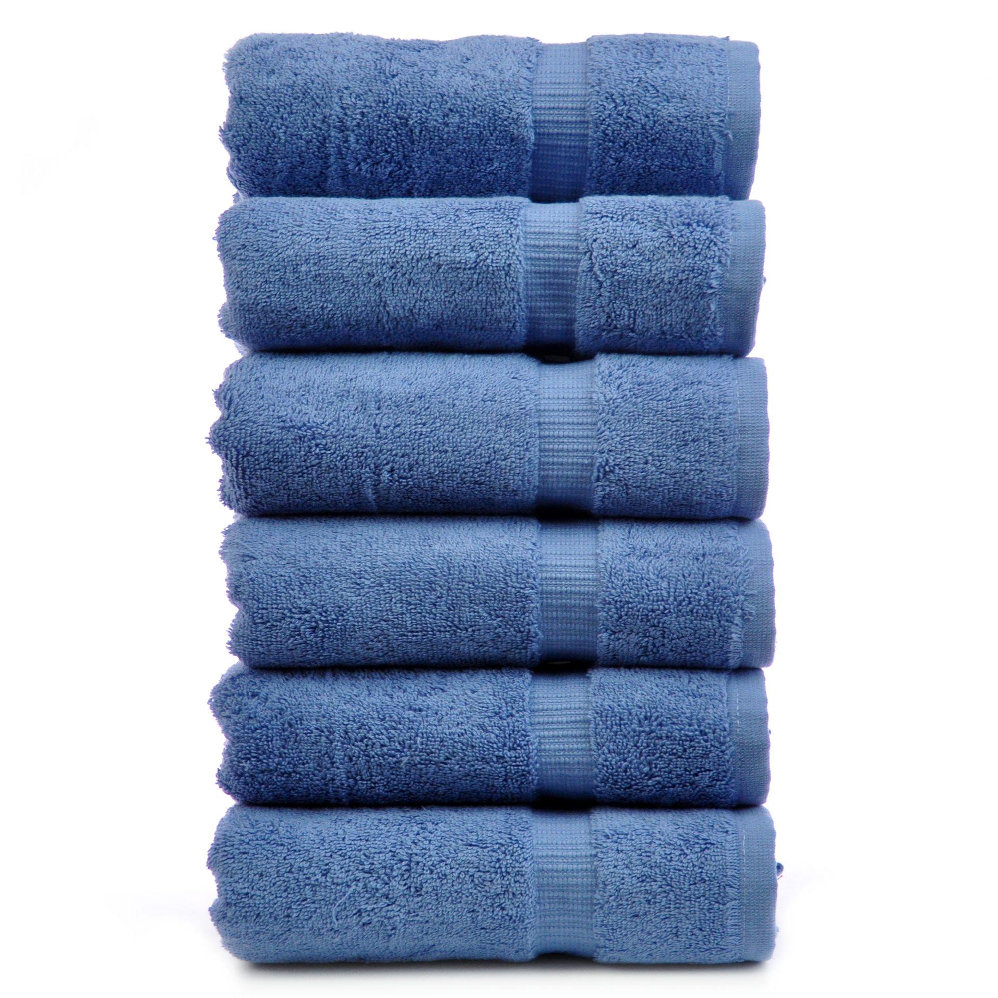 Chakir Turkish Linens Turkish Cotton Luxury Hotel & Spa Bath Towel, Hand Towel - Set of 6, Wedgewood