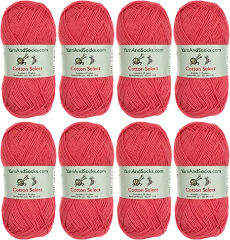4 Skeins All Cotton Select Tigerlily Orange Cotton Select Yarn