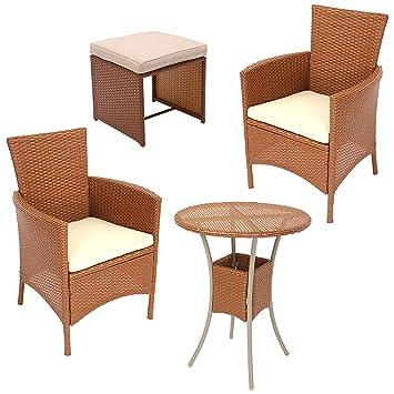 Amazon.de: Garten-Garnitur Sitzgruppe ROM, Poly-Rattan, Tisch rund ...