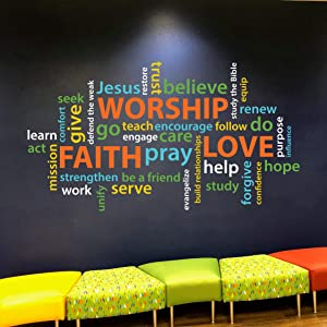 Diuangfoong Word Collage Faith Worship Love Youth Room Church Christian School Wordle Wall Decal Vinyl Decal Colorful Collage Word Cloud Re3174