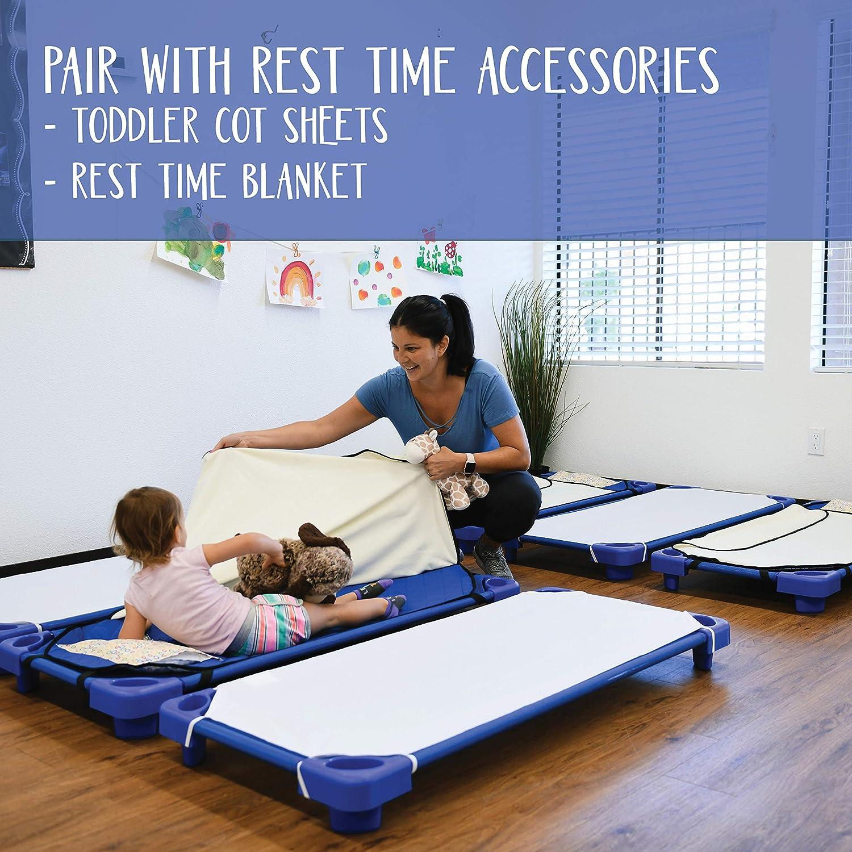23 x 40 Assembled 1 Toddler ECR4Kids montiert blau stapelbar kindertagesbetreuung Rest Time Kinderbett /& Rollen