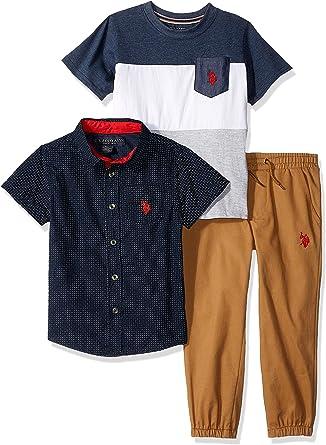 Boys Little Long Sleeve Sport U.S T-Shirt and Jogger Set Polo Assn