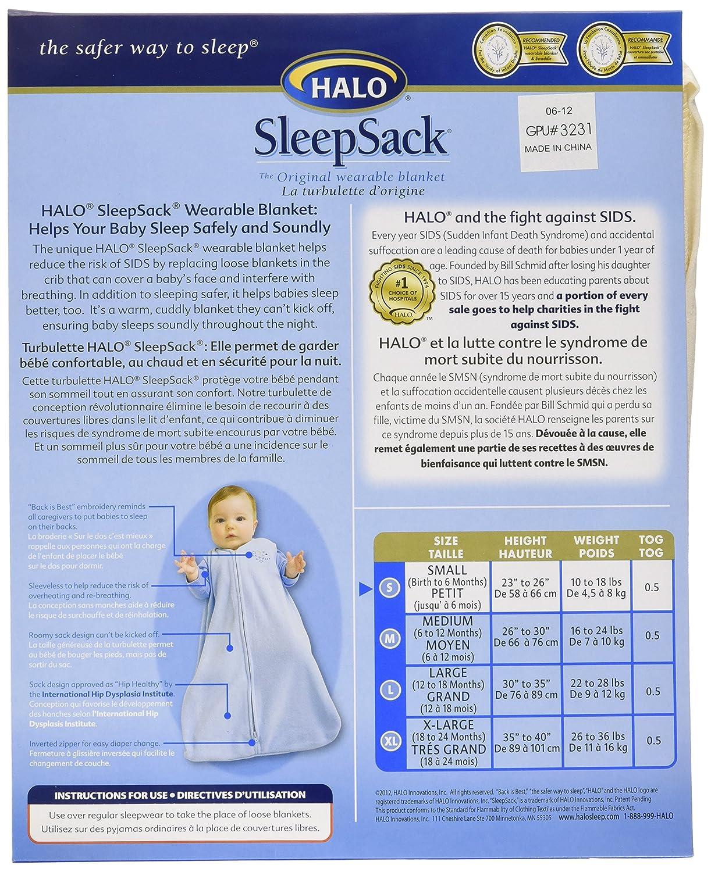 Halo Innovations HALO SleepSack Wearable Blanket cotton grey square and triangle size LG Large