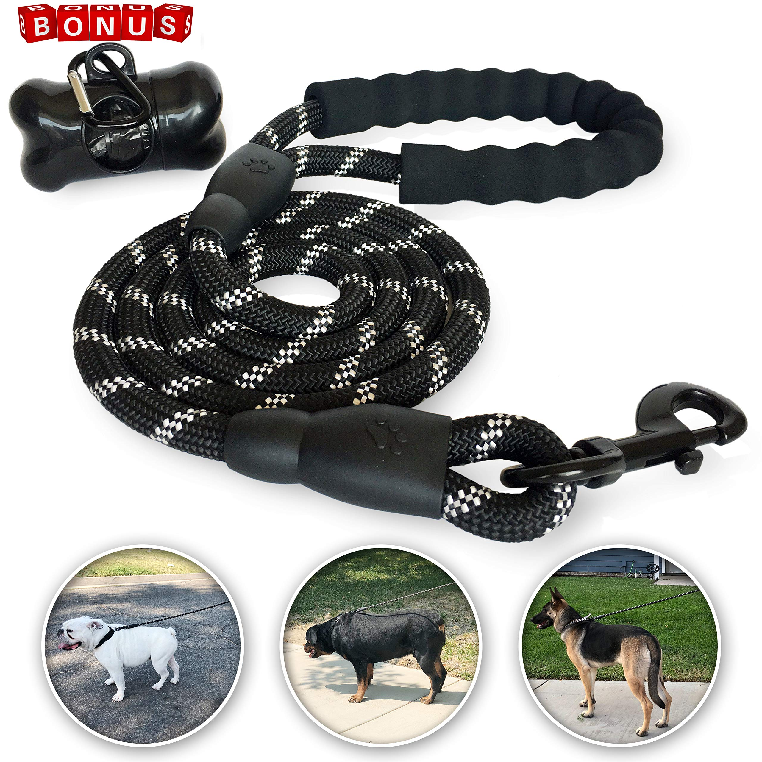 Coronado Collective 5 FT Strong Black Dog Leash Comfortable Padded Handle Heavy Duty Nylon Rope 360 Tangle-Free Highly Reflective Leashes Medium Large Dogs Free Doggie Poop Waste Bags