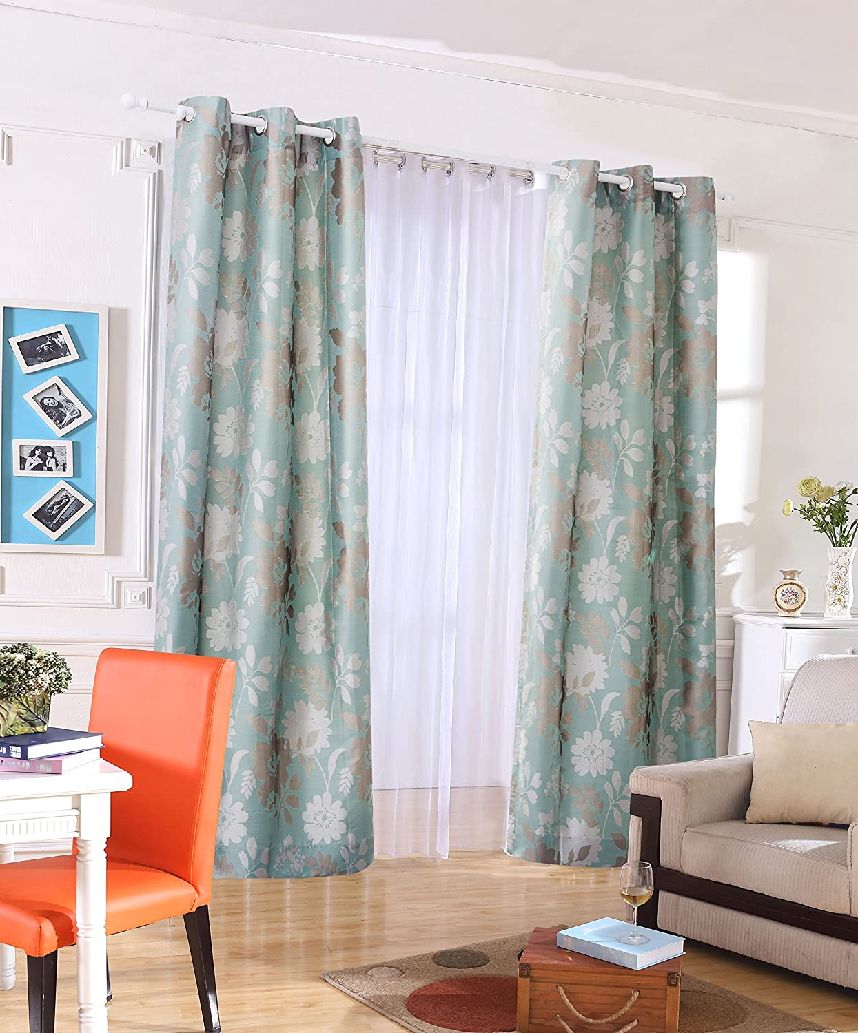 Vantextile Jacquard Eyelet Curtains Living Room Room Decorate Curtains 100 Polyester Jacquard Fabric Colorfast And Pattern Both Side Machine Washable One Pair 46 X72 Amazon Co Uk Kitchen Home
