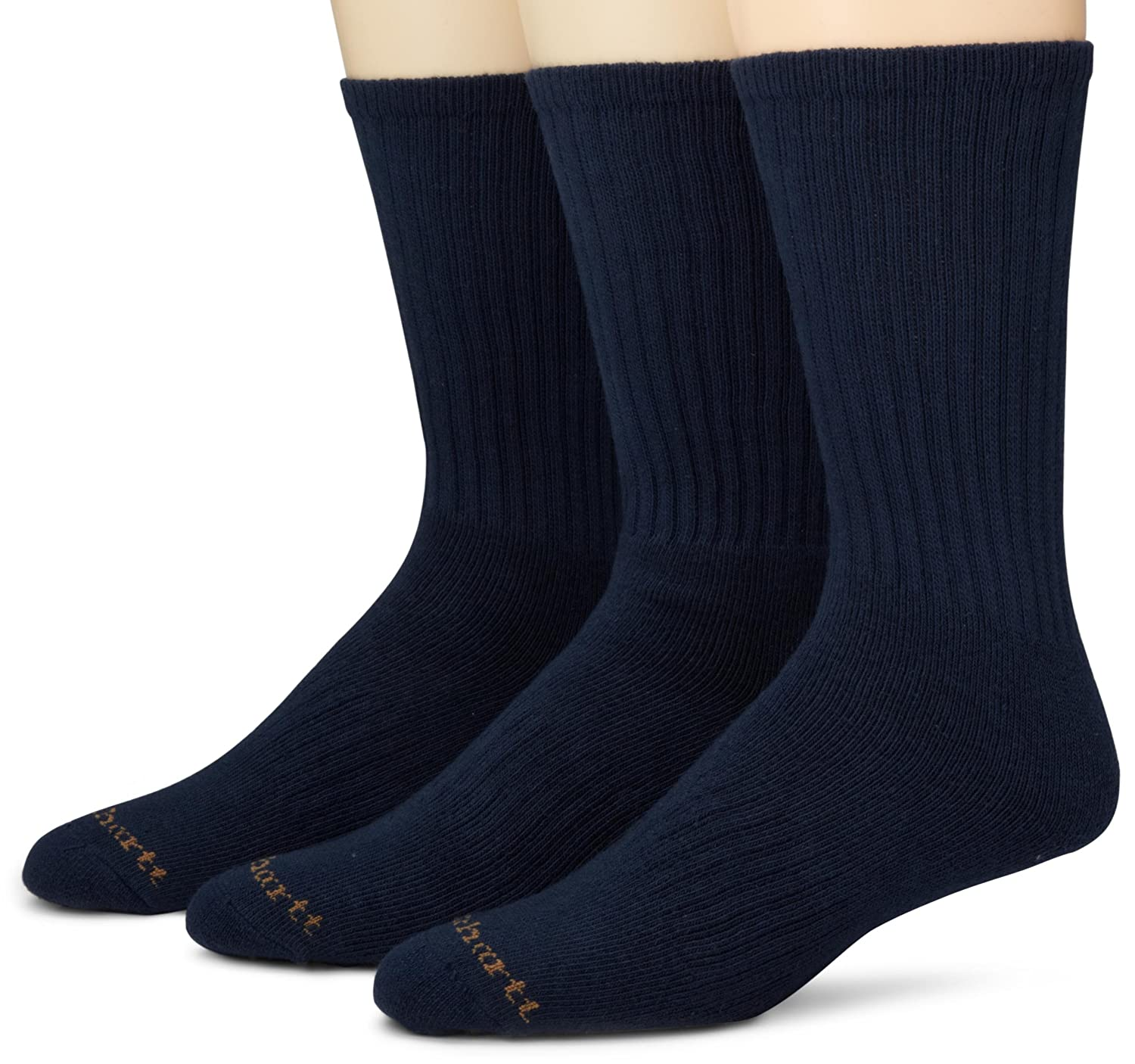 Carhartt Men's Work Wear Cushioned Crew Sock 3-Pack Black Large A3208-3