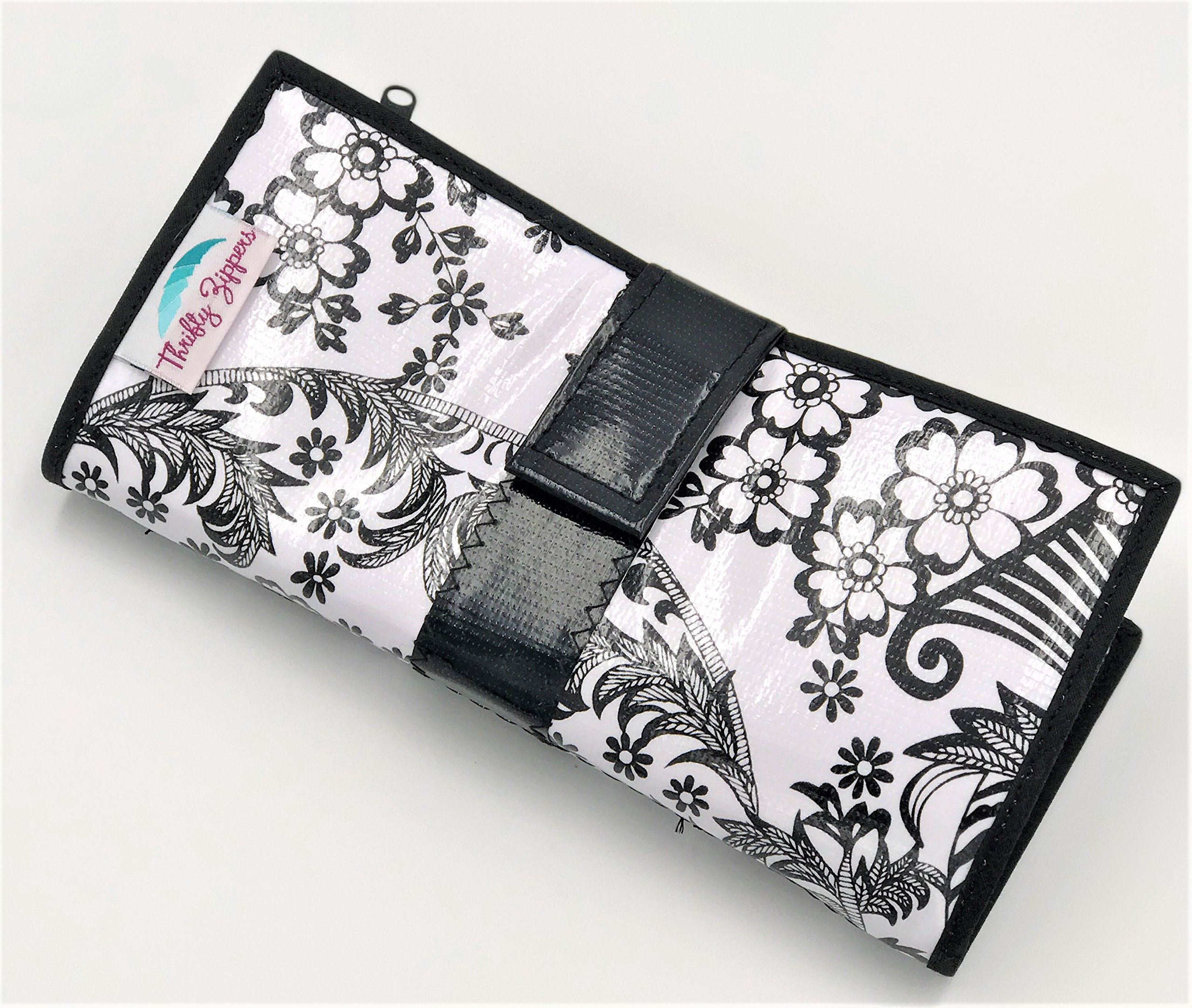 Cute Black and White Oilcloth Envelope System Wallet for Cash Budgeting and Extreme Couponing by Thrifty Zippers