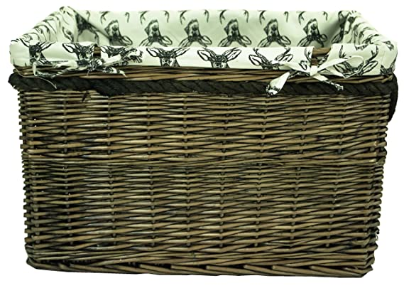 Set of 4 Sizes, Log Laundry Basket with Rope Handle east2eden Brown Wicker Willow Storage Display Laundry Basket Box with Rope Handle Stag Liner