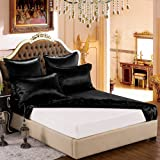Taihu Snow 19mm Mulberry Silk Twin Fitted Sheet with Embroidery - Black