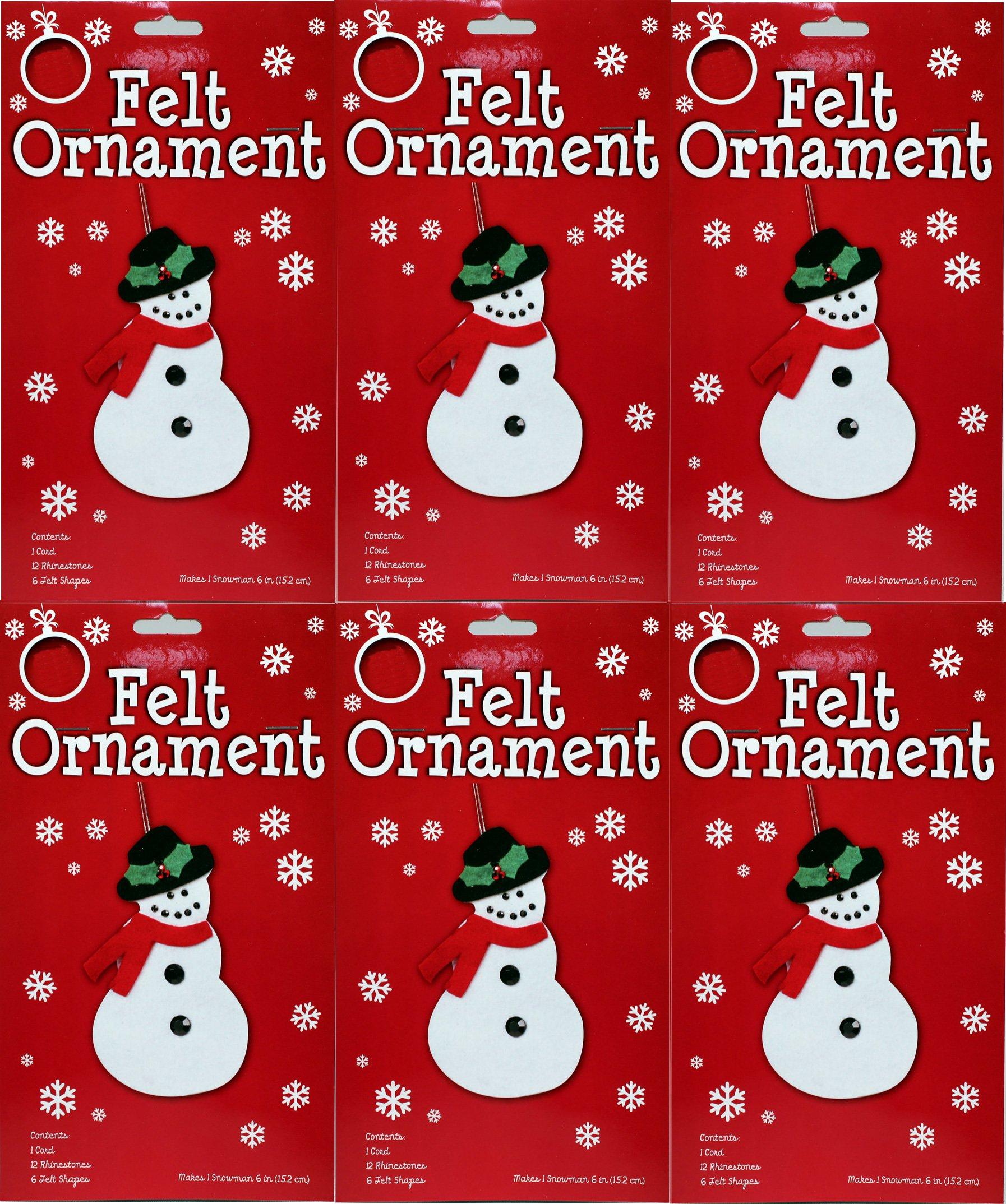 Make Your Own Felt Christmas Ornament Kit, Snowman, Wholesale Pack of 12 Kits