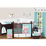 Unique Turquoise Blue and Coral Emma Baby Girls 11 Piece Floral Modern Crib Bedding Set without bumper