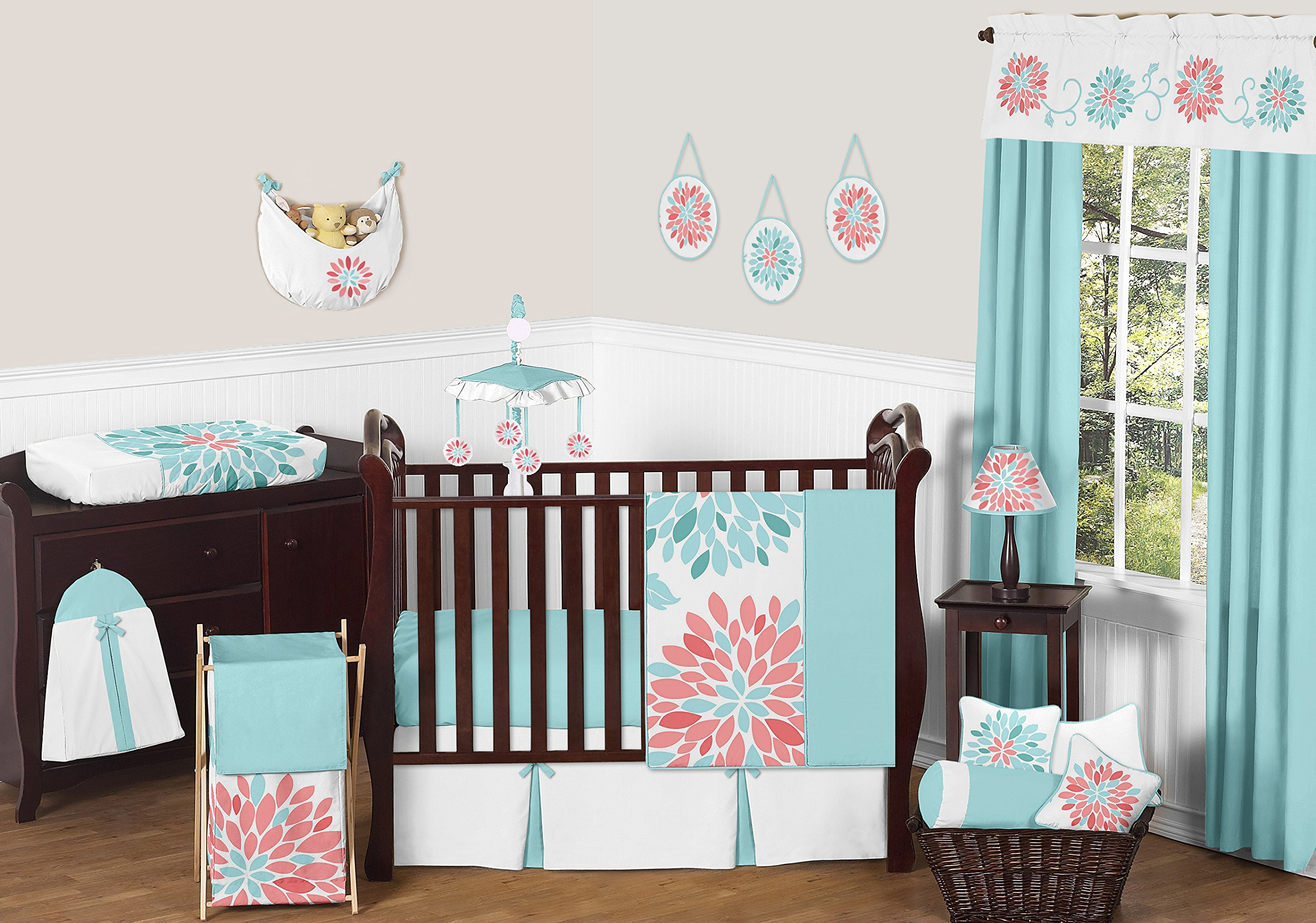 Sweet Jojo Designs 11-Piece Unique Turquoise Blue and Coral Emma Baby Girls Floral Modern Crib Bedding Set Without Bumper