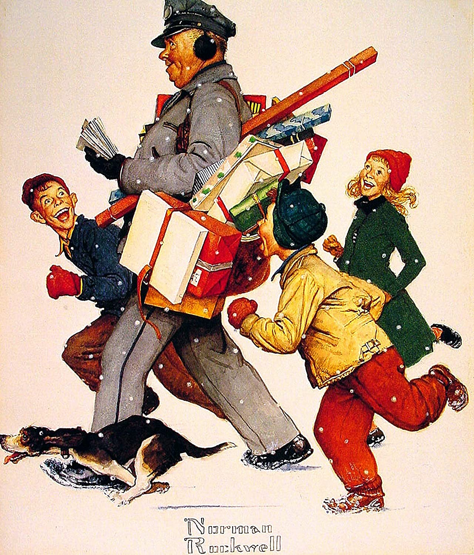 Amazon.com : Christmas Mailman Norman Rockwell Art Print - 8 in x 10 ...