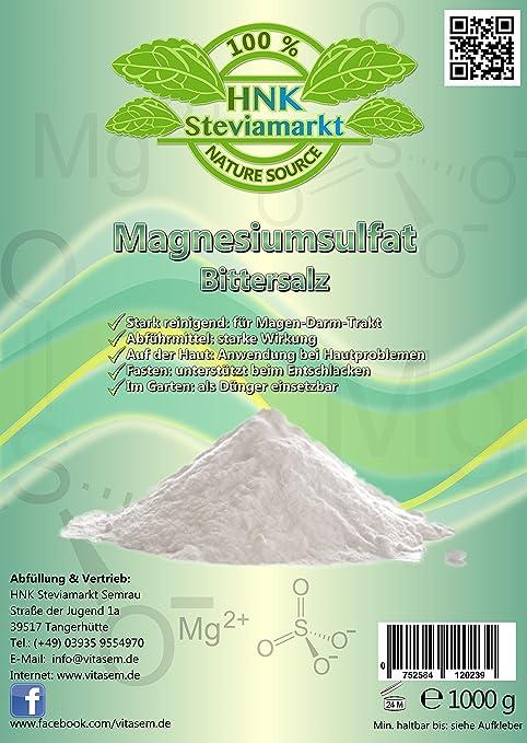 Sales de Epsom - sulfato de magnesio 1 kg - ayuda natural para el ayuno y