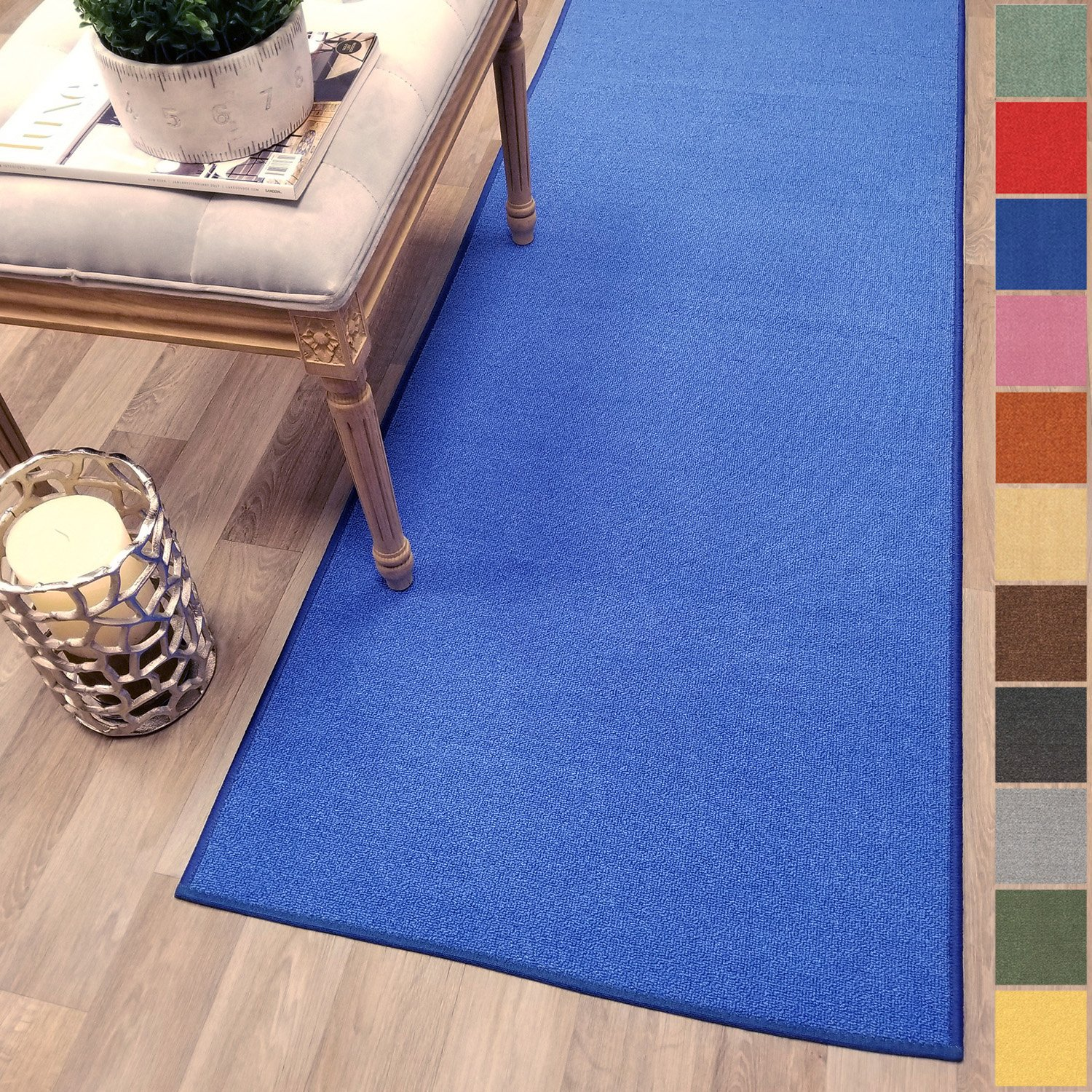 Kapaqua Custom Size BLUE Solid Plain Rubber Backed Non-Slip Hallway Stair Runner Rug Carpet 22 inch Wide Choose Your Length 22in X 3ft