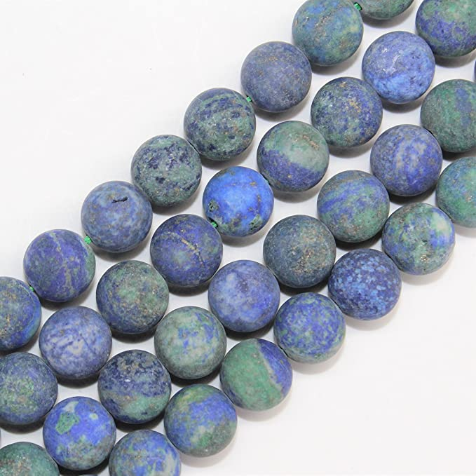 Matte Azurite Chrysocolla Gem Beads For Bracelet Necklace Jewelry Beadwok 6-10mm