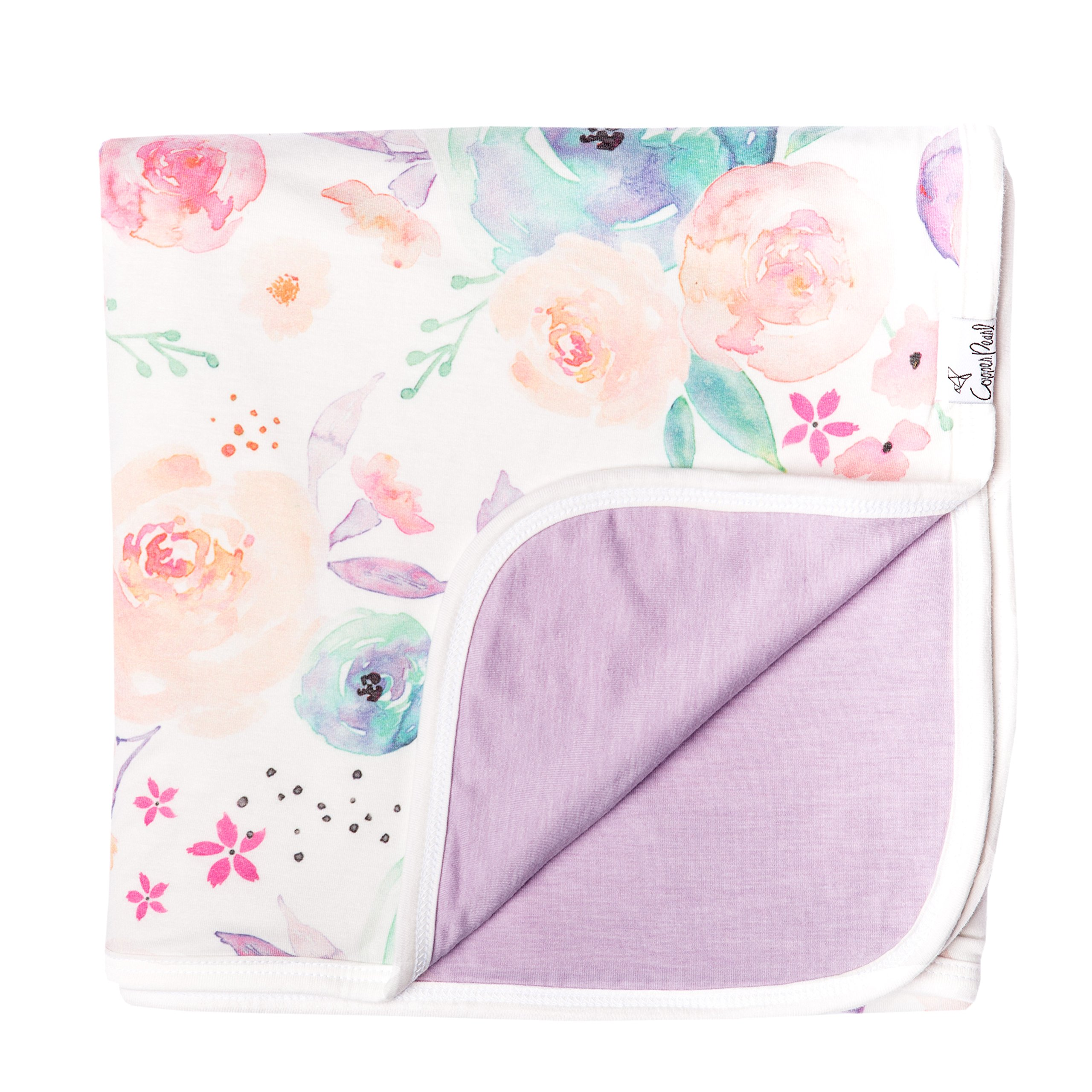 Large Premium Knit Baby 3 Layer Stretchy Quilt Blanket Floral''Bloom'' by Copper Pearl
