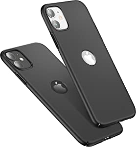 CASEKOO Slim Fit Compatible with iPhone 11 Case, [Logo Visible] Ultra-Thin Hard Plastic Protective Phone Case Cover with Matte Finish Coating Cases for iPhone 11 6.1 inch 2019, Space Black