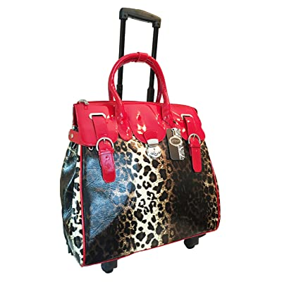 Trendy Flyer Computer/laptop Large Bag Tote Duffel Rolling 4 Wheel Spinner Luggage Leopard Red good