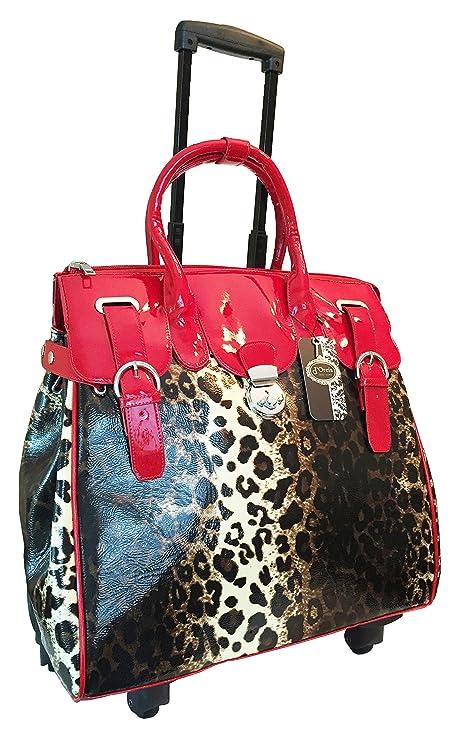 Trendy Flyer ordenador/portátil bolso grande bolso bolsa ruedas 4 ruedas Spinner equipaje leopardo rojo