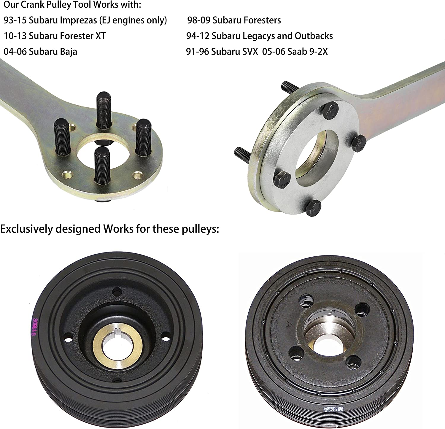 EnRand New Version Crank Pulley Tool fit for Subaru Imprezas Foresters XT Legacy Outback Baja SVX Saab 9-2X