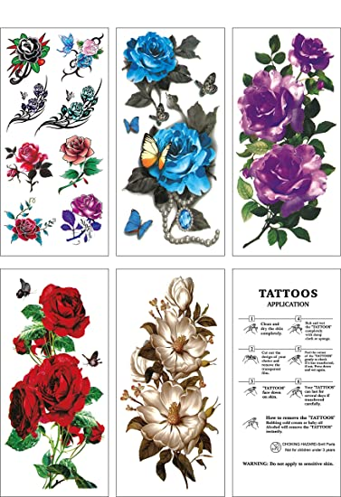 Flower Temporary Tattoos,Fake Tattoos Flower Sticker,5 Large Sheets, by  WffDirect, Color Flash...