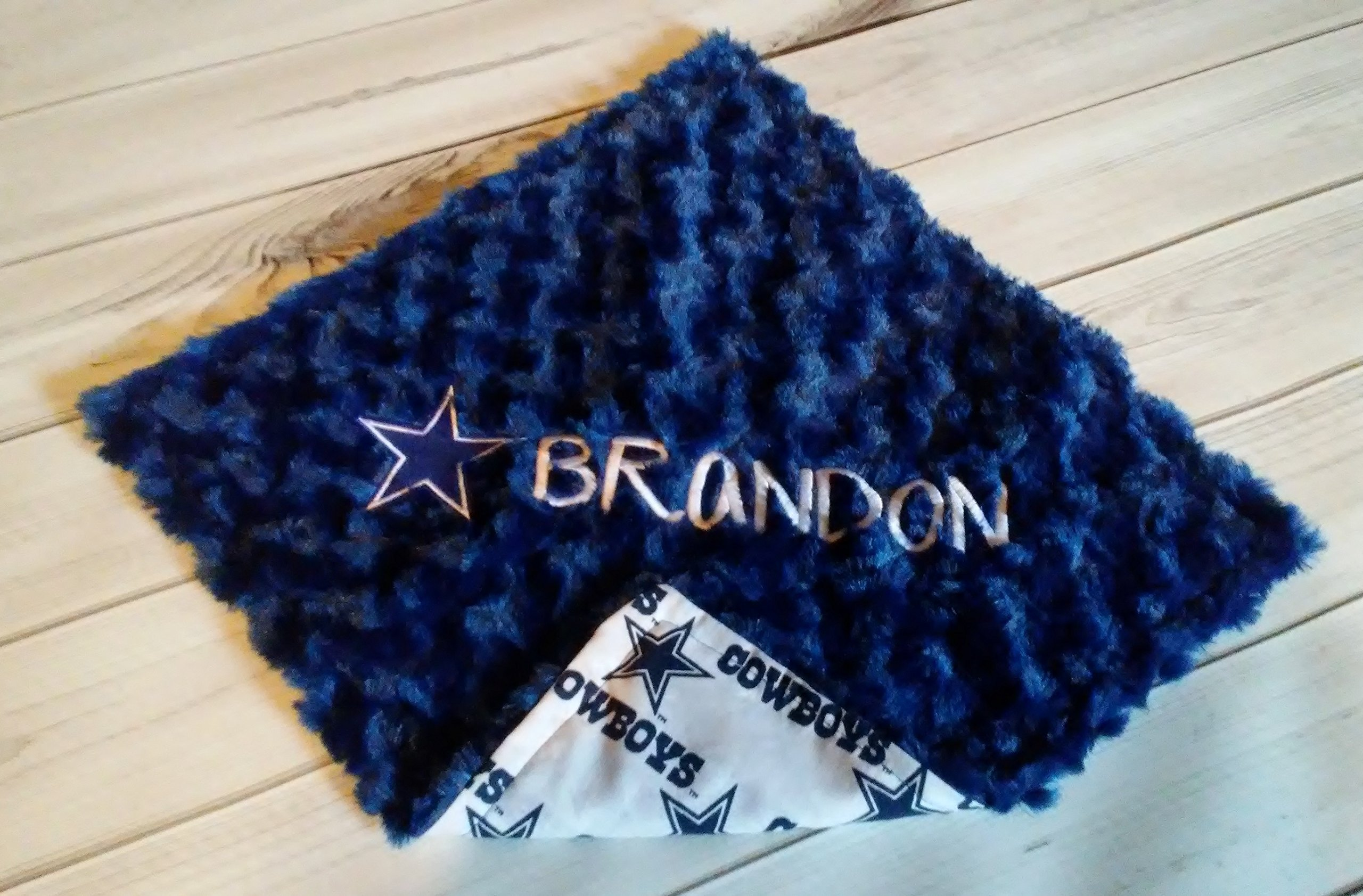 Dallas Cowboys White Blue Star Cotton and Blue Swirl Silky Minky lovey 15 x 15