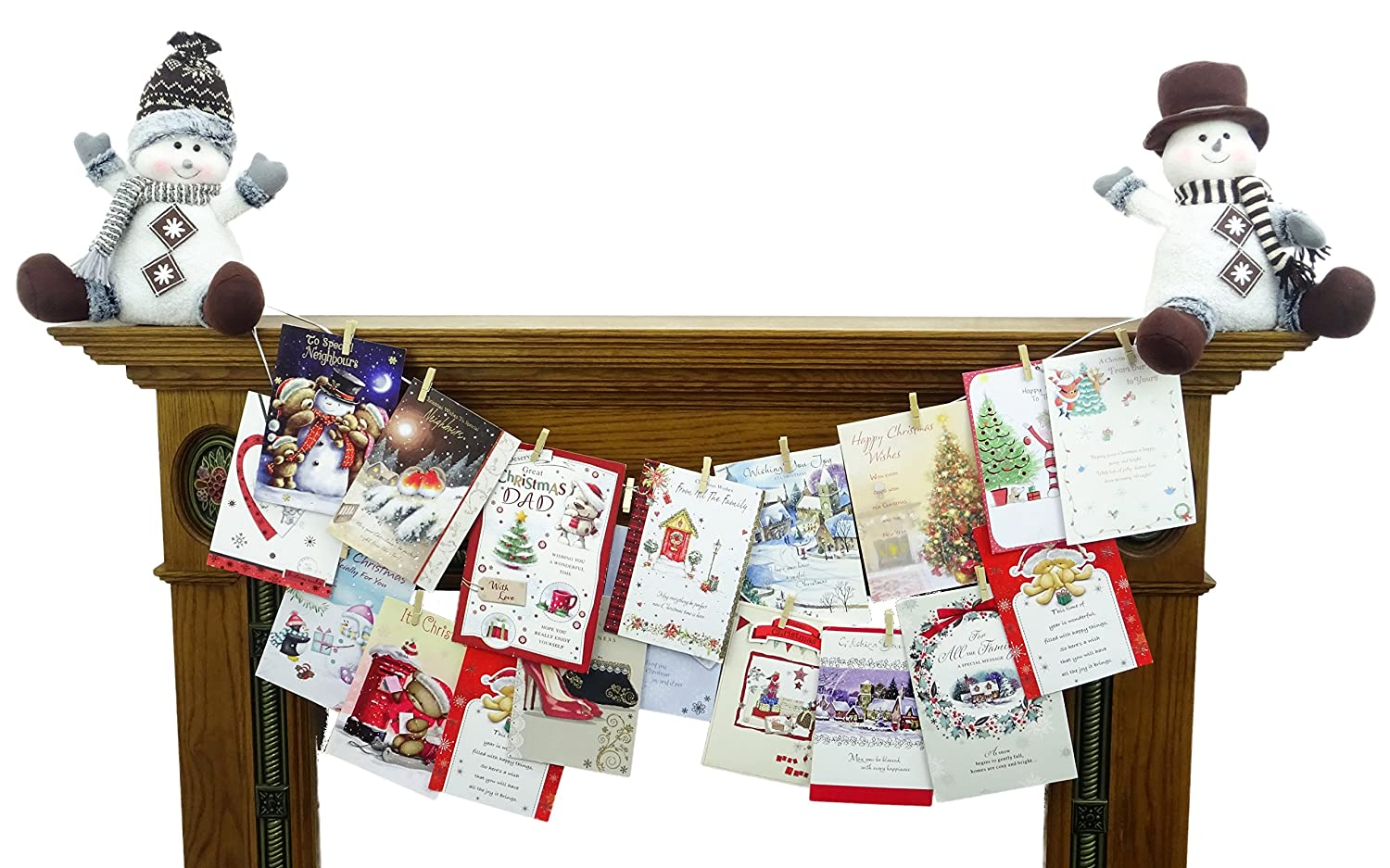 Christmas Concepts® Christmas Card Holder For A Mantle Piece With Wooden Pegs (Sitting Elves)