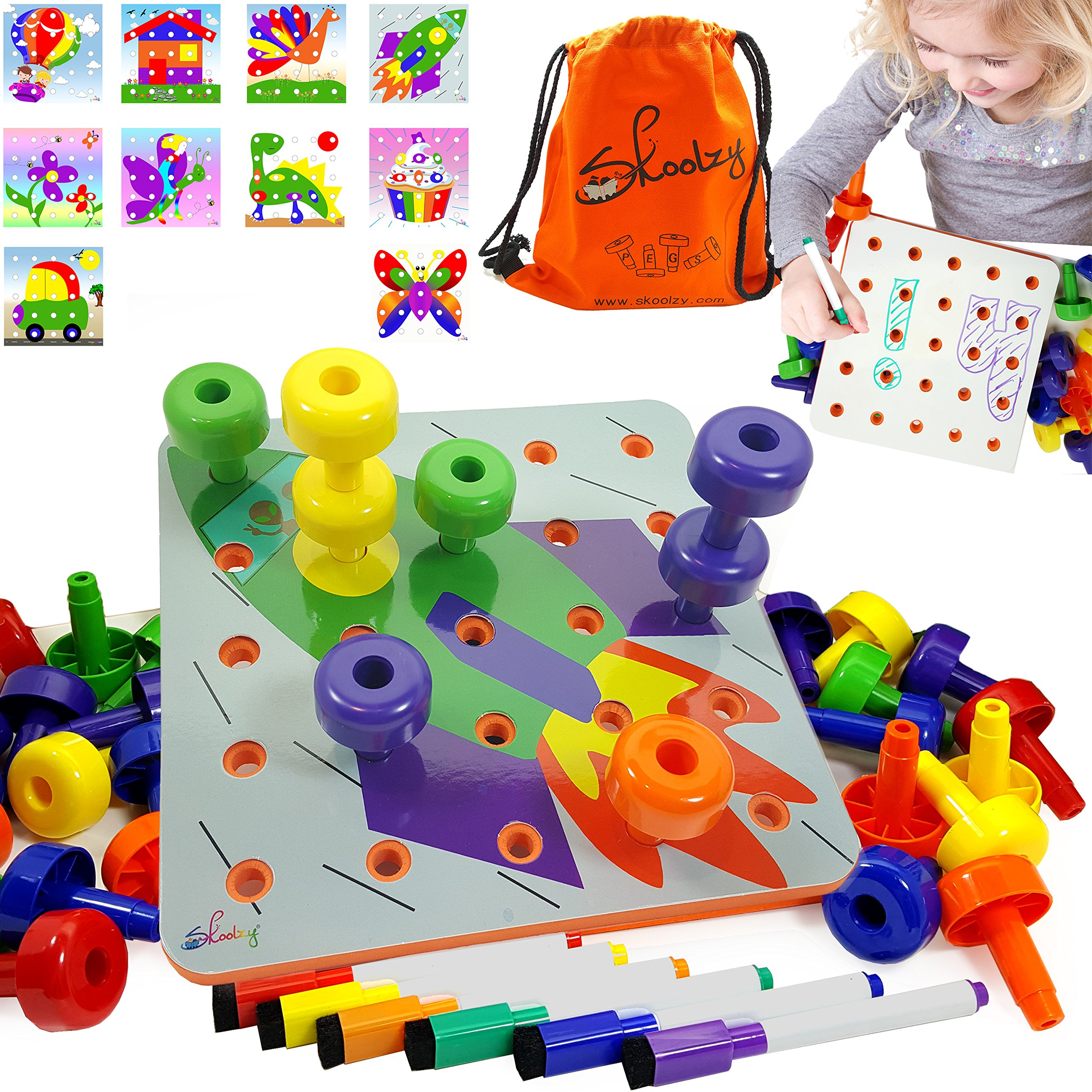 Skoolzy Toddler Educational Toys - Peg Puzzles Toddler Toys for Kids Ages 1yr - 4yr.Stacking Pegboard Creative Art for 1, 2, 3, 4 Year Old Boys or Girls | 45pc Peg Board, Pens Cards by Skoolzy