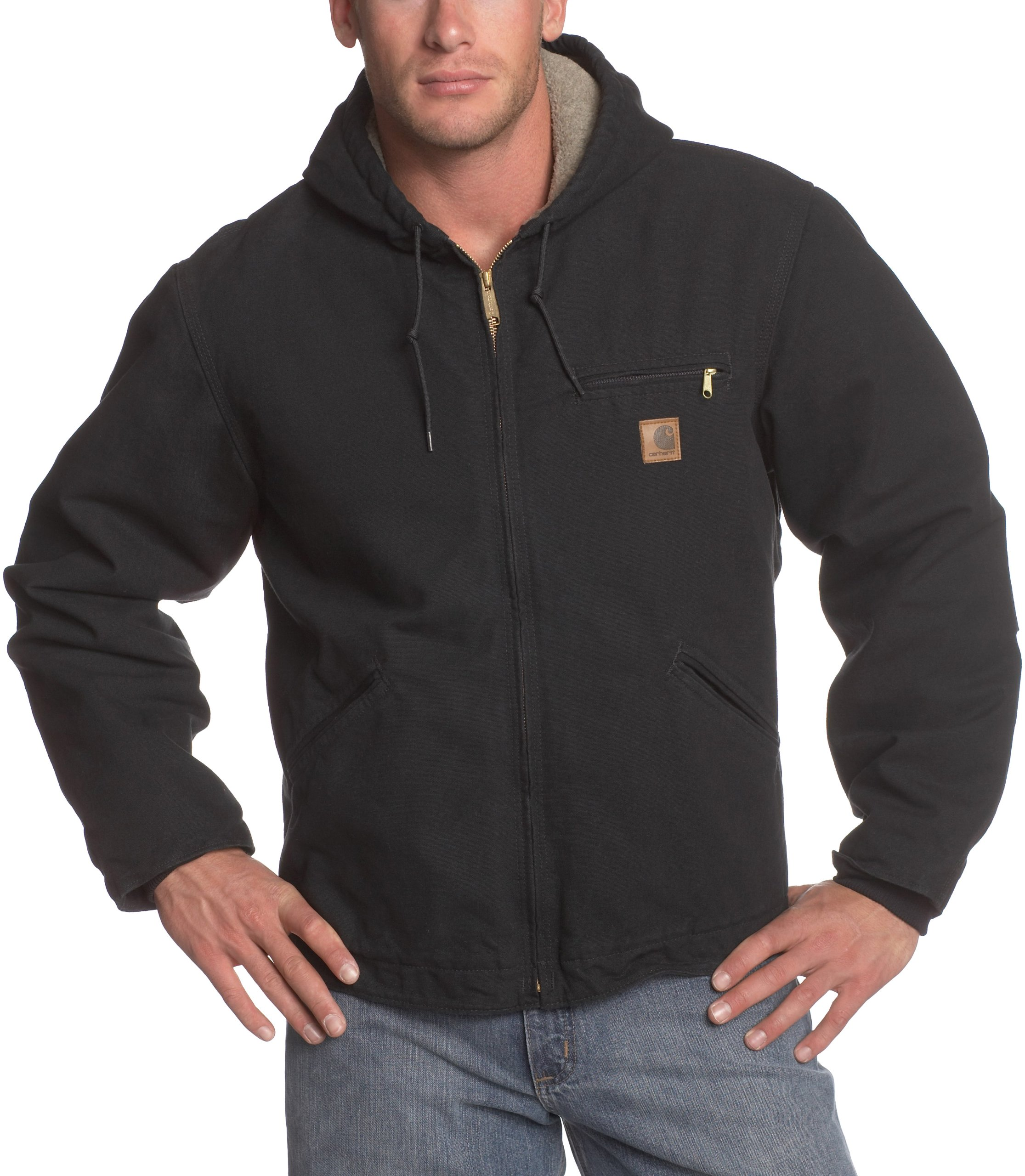 Carhartt Men's Big & Tall Sherpa Lined Sandstone Sierra Jacket J141,Black,XXX-Large