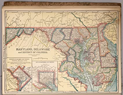 Amazon.com: Map Poster - Maryland, Delaware and District of Columbia ...