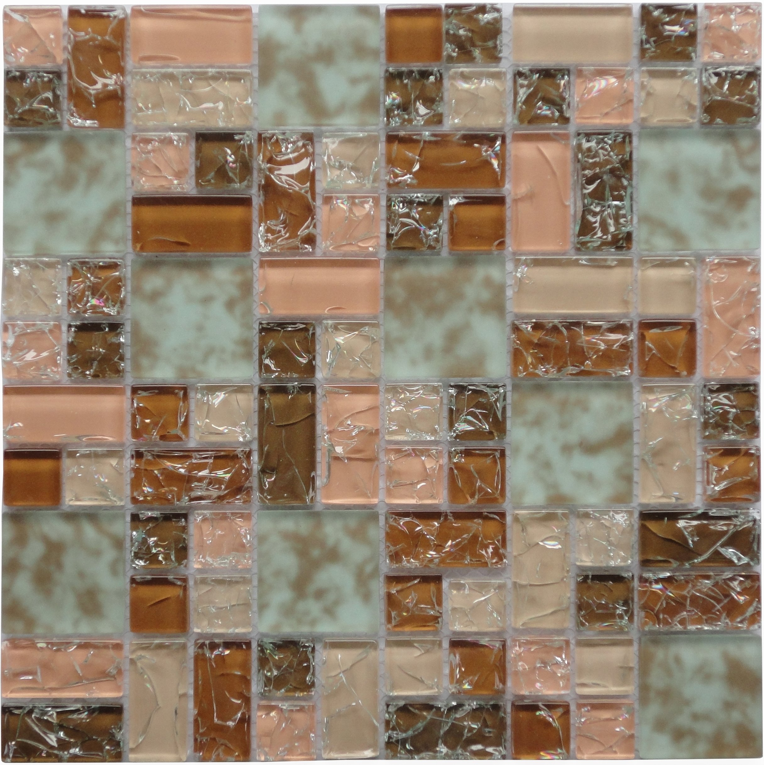 Crackle Roseate (GP08) Pink Copper Puzzle Glass Backsplash Mosaic Tile for Kitchen Bathroom Wall (1 Box / 11 Sheets)