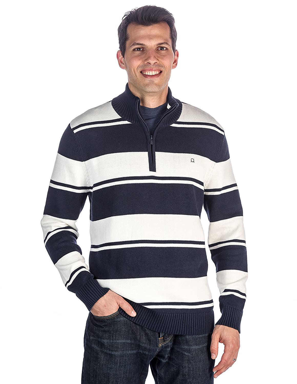 Noble Mount Mens 100/% Cotton Half-Zip Pullover Sweater