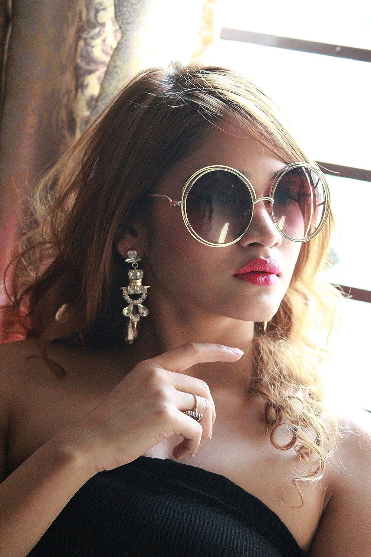 Bellofox Retro Style Round Brown Sunglasses for Girls & Women