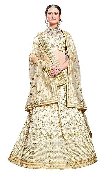 cfacc55833d06 MEGHALYA Bridal Collection Phantom Silk Embroidered Phantom Silk Lehenga  choli for women(Pearl White