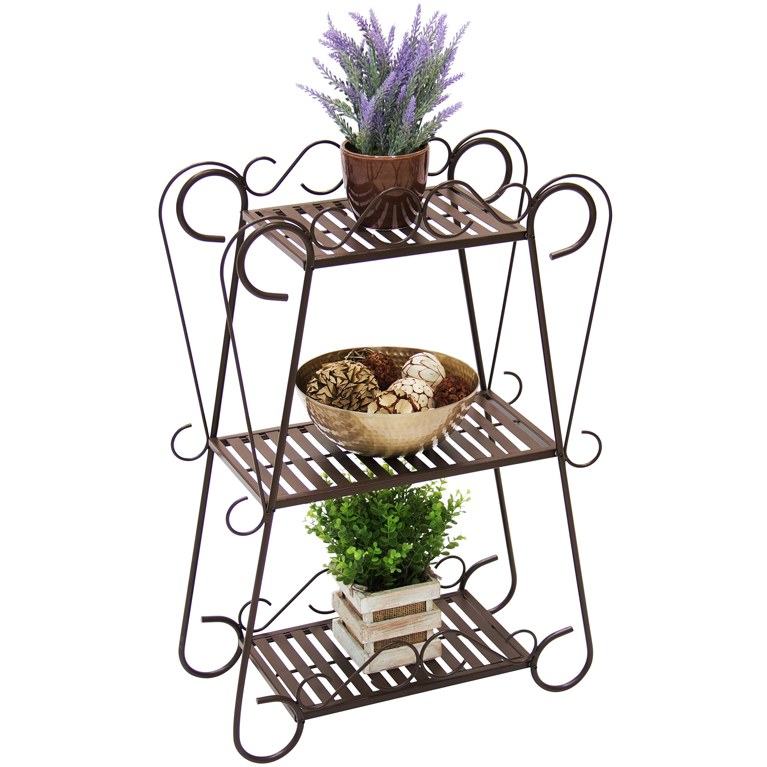 Best Choice Products Multifunctional 3-Shelf Metal Plant Stand Display Rack with Slatted Shelves, Bronze by Best Choice Products