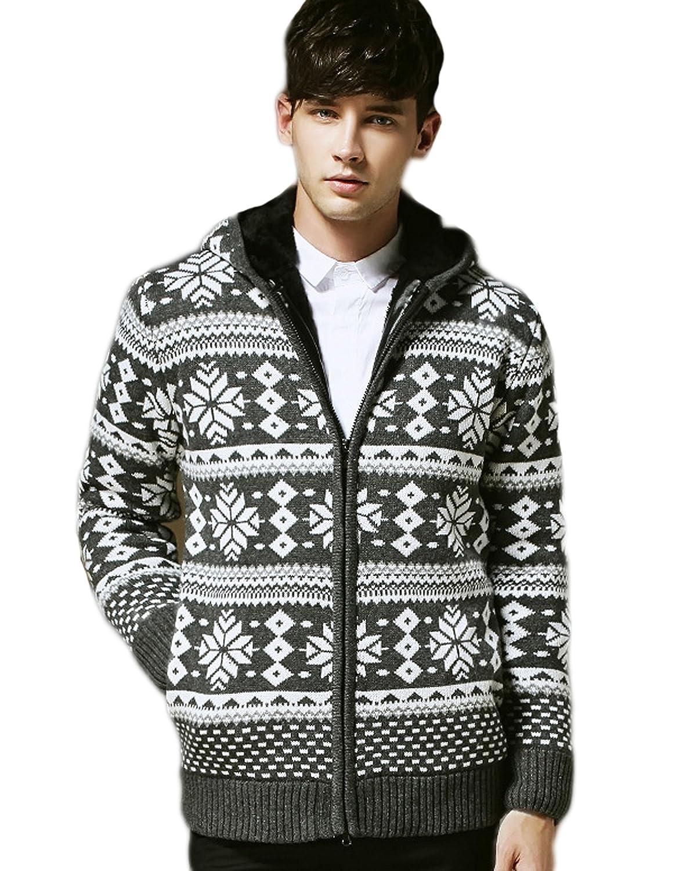 Men's Korean cardigan sweater thick velvet long-sleeved sweater coat