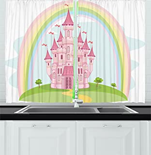 Ambesonne Children Kitchen Curtains, Princess Castle And Rainbow Fairy  Fantasy Magic Kingdom Romantic Cartoon Image