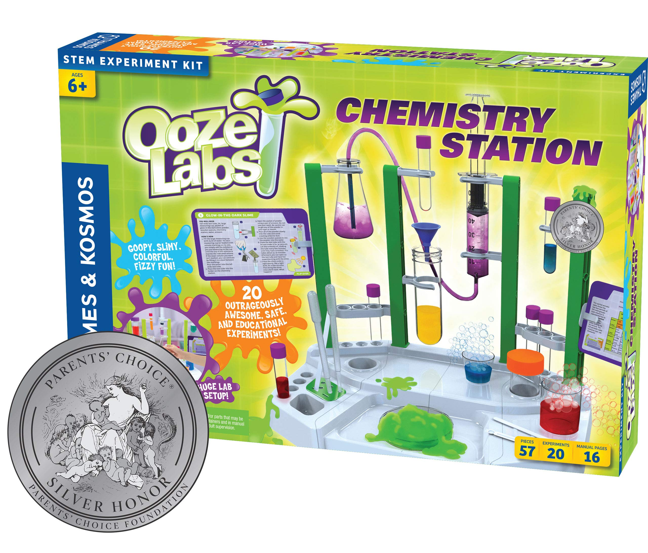 Thames & Kosmos Ooze Labs Chemistry Station Science Experiment Kit, 20 Non-Hazardous Experiments Including Safe Slime, Chromatography, Acids, Bases & More by Thames & Kosmos