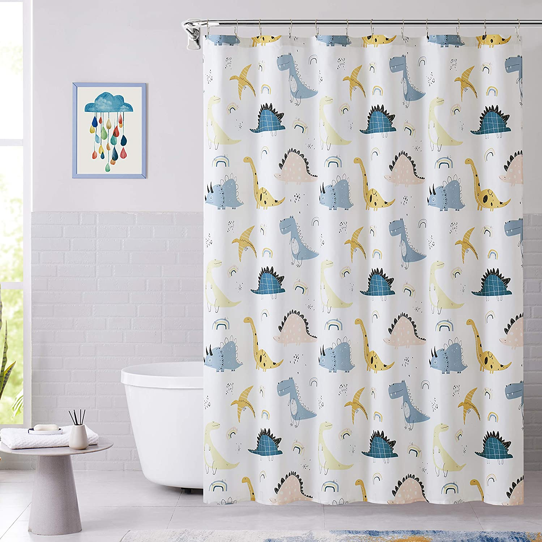 WEST LAKE Dinosaur Shower Curtain Blue White Cartoon Kid Bathroom Button Holes Water Resistant Bath Decor Waterproof Washable Fabric for Kid Room Hotel Bathroom,70x72 inch,Blue White Dino