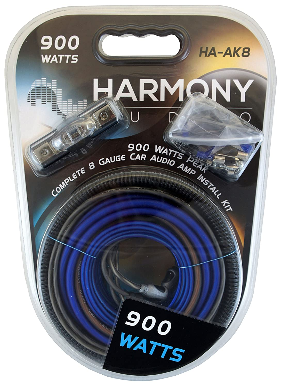 Amazon.com: Harmony Audio HA-AK8 Car Stereo Complete 8 Gauge 900W ...