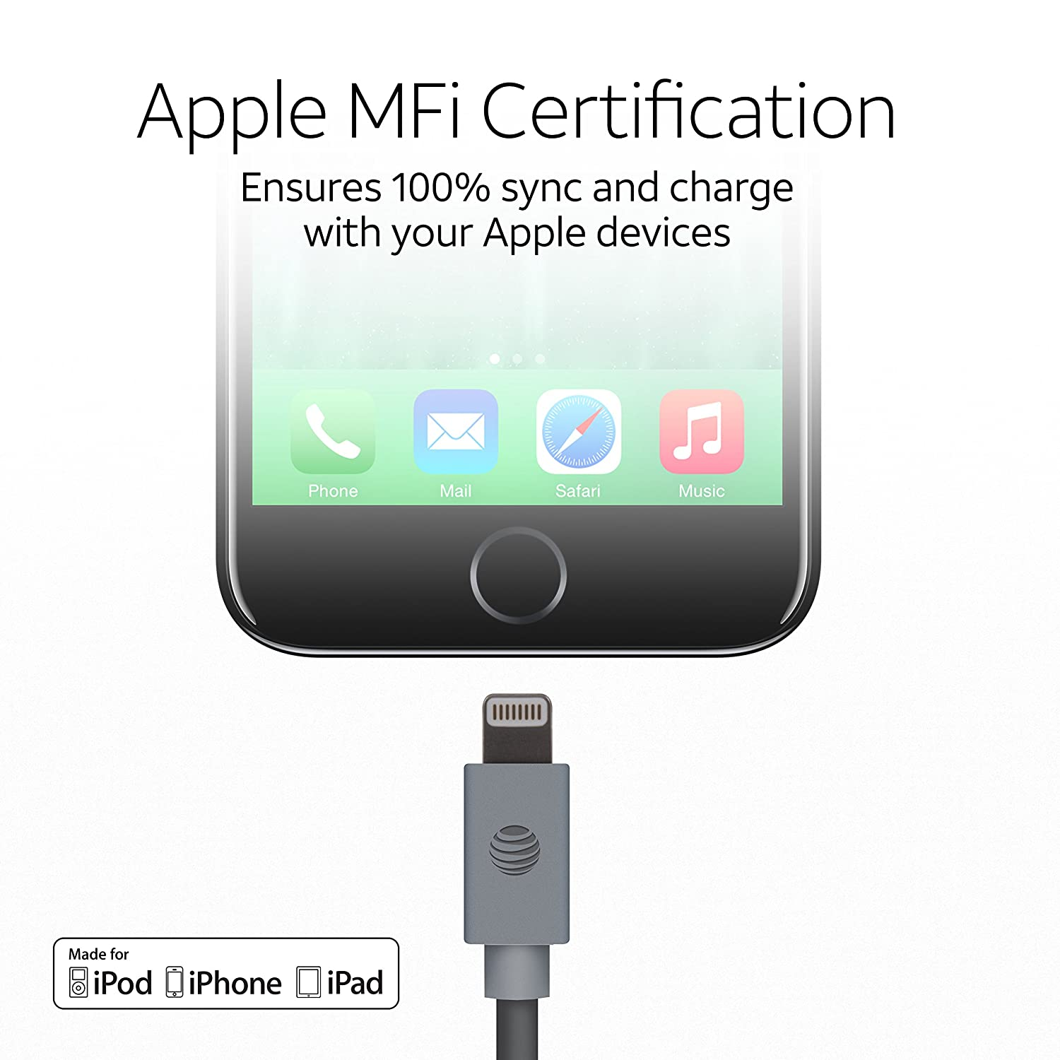 Amazon Att Apple Mfi Certified Lightning To Usb Cable 10