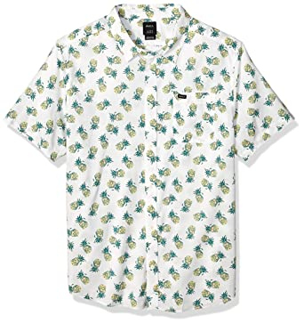 af6215b8fa RVCA Men's ANP Pack Short Sleeve Woven Button Front Shirt