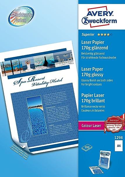 Avery España 1298.Caja de 200 hojas de papel fotográfico brillo para láser 120gr